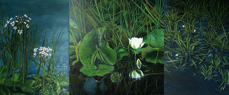 Wasserpflanzen am Haus Triptychon, Acryl 2017, 240 x 100 cm