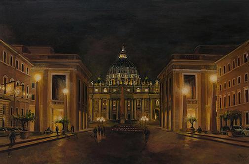 Rom, Petersdom bei Nacht, Acryl 2013, 90 x 60 cm