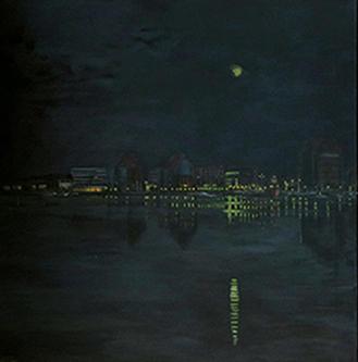 Rostock Stadthafen bei Nacht (1), Acryl 100 x 100 cm