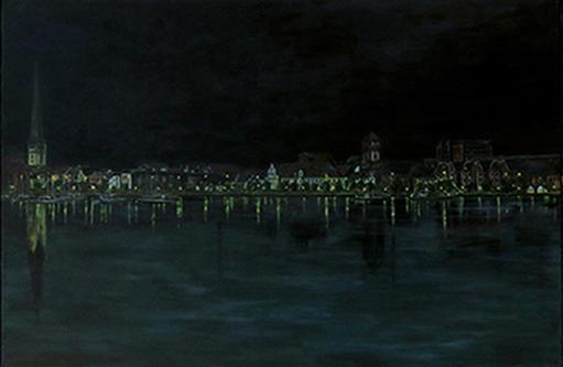 Rostock Stadthafen bei Nacht (2), Acryl 2015/17, 150 x 100 cm