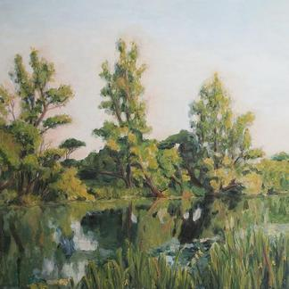 Lake, Midday Sun (Acrylic)